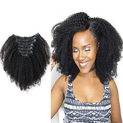 Sassina 8A Grade Afro Curly Clip In Human Hair Extensions 3C