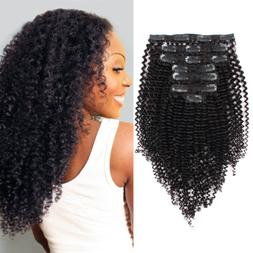 AmazingBeauty 8A Kinkys Curly Double Weft Thick Clip in Huma