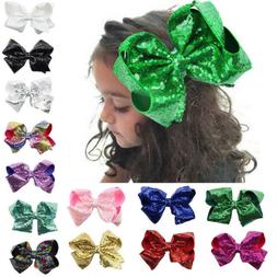 8inch Large Sequin Hair Bow Alligator Clips Headwear Kids Si