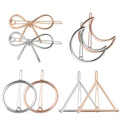 8Pcs Women's Hair Clips Hollow Double Triangle Round Moon Bo