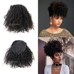 African American Kinky Curly Ponytail Hair Piece Clip ins Br