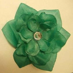 AQUA GREEN FABRIC FLOWER HAIR CLIP with Rhinestone Wedding G