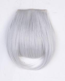 "Fashion 8"" Bangs Clip in Hair Extensions Front Neat Silver G"