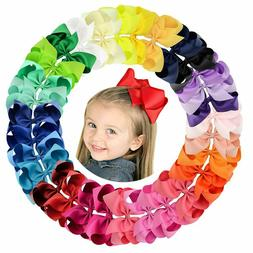 Big 30pcs 6in Grosgrain Ribbon Hair Bows Clips for Girl Todd