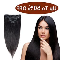 Urbest hair Natural Black 100% Clip in Remy Human Hair Exten