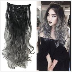 DYBST Natural Black to Dark Grey 2-tone Ombre Color Wavy Cli