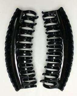 BLACK Extra Large Hair Jaw Clip Claw Clamp 5 1/2 inches 2 Pa