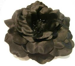 BLACK FABRIC ROSE HAIR CLIP with STAMEN Wedding Generic synt