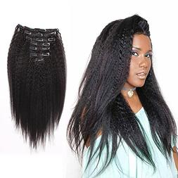AmazingBeauty Blow Out Clip In Extensions Kinky Straight 8A