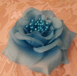 BLUE FABRIC ROSE HAIR CLIP with STAMEN Wedding Generic synth