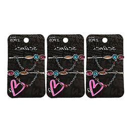 Scunci Bobby Pin Hair Clips Rhinestone Jeweled Chain Bead De