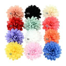 12PCS Baby Girls Bows Chiffon Flower Hair Clip Girls Toddler