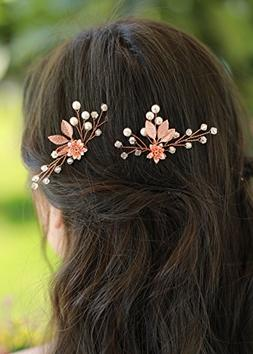 Missgrace Bridal Rose Gold Hair Pins Women Crystal Rhineston