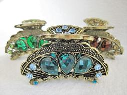 Bronze gold metal hair claw clips with crystals for fine thi