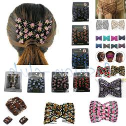 Butterfly Easy Magic Beads Double Slide Hair Comb Elastic Cl