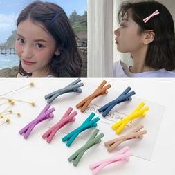 Candy Colour Cross Girl Hair Clips Bow Knot Clips Matte Text