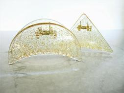Clear transparent triangle gold sparkle glitter hair claw cl