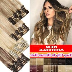 CLEARANCE Clip In 100% Real Remy Human Hair Extensions 8pcs