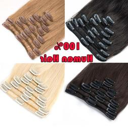 CLEARANCE Clip in Human Hair Extensions Full Head 100% Real