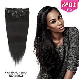 Clip In Extensions Black Human Hair Thick Clip In Hair Exten