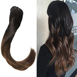 VeSunny 20inch Clip Hair Extensions Human Hair Ombre Color #