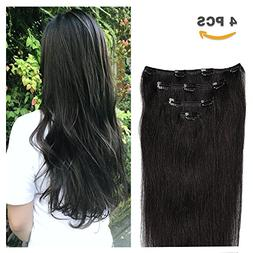 "12"" Clip in Hair Extensions Remy Human Hair for Women - Silk"