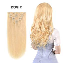 16 inches Clip in hair Extensions Remy Human Hair - 70g 7pcs