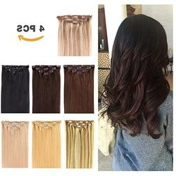 "18"" Clip in Hair Extensions Remy Human Hair for Women - Silk"