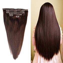 "HEBE 18"" Clip in Human Hair Extensions Silky Straight Dark B"