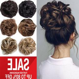 Clip in Human 100% Remy Hair Piece Extensions Chignon Messy