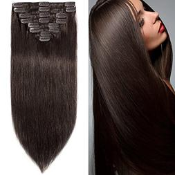 8 inch 65g Clip in Remy Human Hair Extensions Full Head 8 Pi