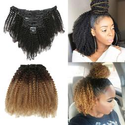 8pcs/Set Clips in Afro Kinky Curly Hair Extensions Ombre Bra
