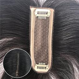 """4""""11""""cm silk base clips in toppers Real human hair hairpiece"""