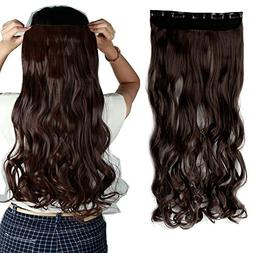 """S-noilite 17""""/23"""" Curly Wave 3/4 Full Head One Piece 5clips"""