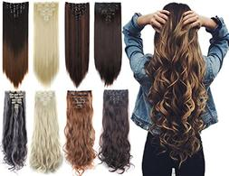 7Pcs 16 Clips Thick Curly Straight Full Head Clip in Double