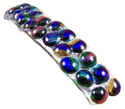 """Dichroic Glass Barrette 3.5"""" 90mm Clear Rainbow Dots Recycle"""