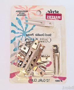 Double Prong metal Hair Clips 12 ct. Style Makers D10901  sa
