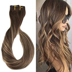 Full Shine 18 inch 9Pcs 120gram Double Weft Clip in Human Ha
