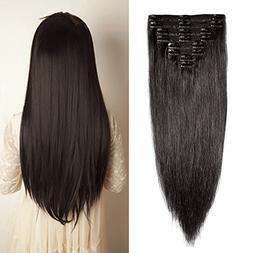 Double Weft 100% Remy Human Hair Clip in Extensions #1B Natu