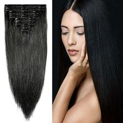 Double Weft 100% Remy Human Hair Clip in Extensions 10''-22'