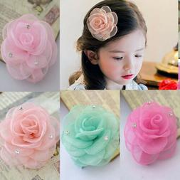 Fashion Girls Kids Duckbill Rhinestones Hairpin DIY Camellia
