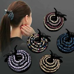 Fashion Ladies Hair Clips Pins Nest Crystal Hairpin Ponytail