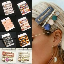 Fashion Set Women's Hair Slide Clips Snap Barrette Hairpin P