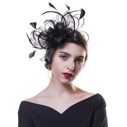 Fashion Women Feather Veil Party Race Melbourne Hair Clips F
