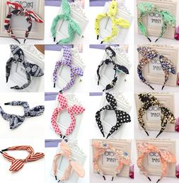 Fashion Women Rabbit Ears Bow Headband Hair Band Head Piece