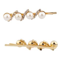 Lux Accessories Faux Pearl Pave Crystal Hair Clips Pins Set