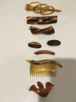 FAUX TORTOISE BARRETTES HAIR BAND Clips Combs Set 8 Made In