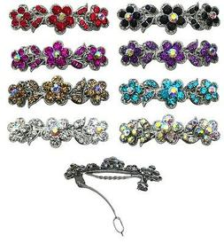 Bella Flower Barrette Hair Clip w. French Clasp and Sparklin