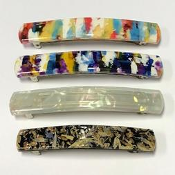 French Barrette Metal Hair Clip Long Rectangle Mosaic Multi-