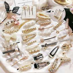 Girls Crystal Pearl Hair Clips Hairpin Barrette Stick Bobby